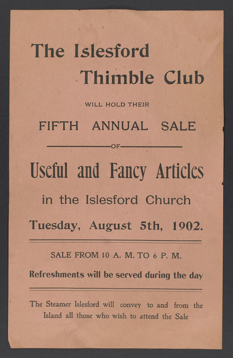 The Islesford Thimble Club Annual Sale Poster